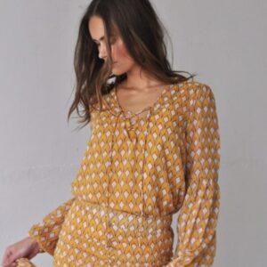 Harper & Yve Blouse Roxy LS yellow print