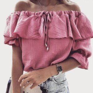 Blouse off shoulder roze